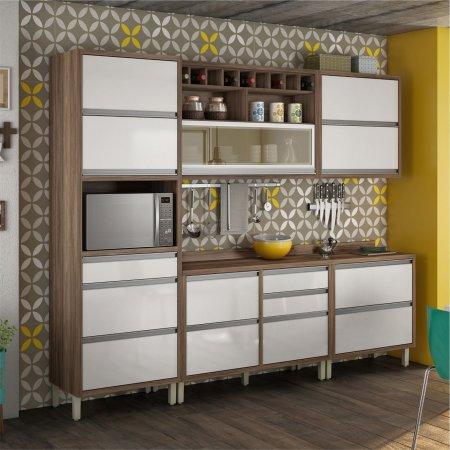 Cozinha Completa 270 cm Nesher Baronesa 5 Peças Nogal com branco 10533026