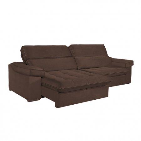 Sofá VIP Rubi Retrátil e Reclinável 246 cm com Molas Ensacadas Tecido 116 Marrom 10249282