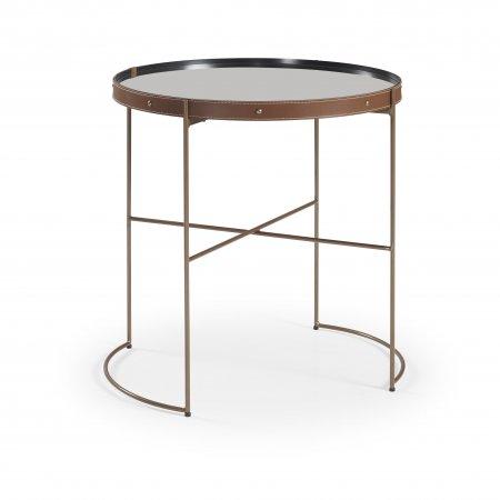 Mesa de Canto 60 cm Couro Caramelo Metal Cobre 10579095