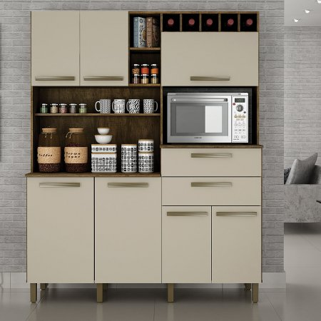 Kit de Cozinha Monte Rey 160 cm Ipê com Off White 10561035