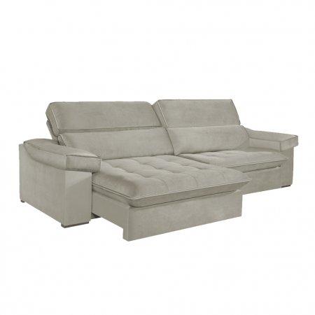 Sofá VIP Rubi Retrátil e Reclinável 246 cm com Molas Ensacadas Tecido 118 Cinza Claro 10249280