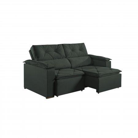 Sofá Retrátil com Encosto Reclinável Porto 220 cm Pillow Tecido Veludo Verde Escuro 25002063