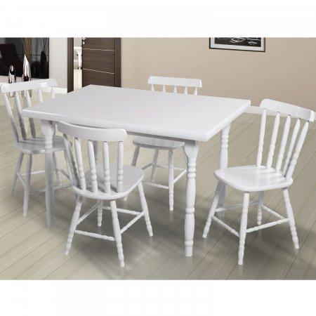 Mesa de Cozinha Torneada 120x80 cm e 6 cadeiras Cor Branco 10610012-019