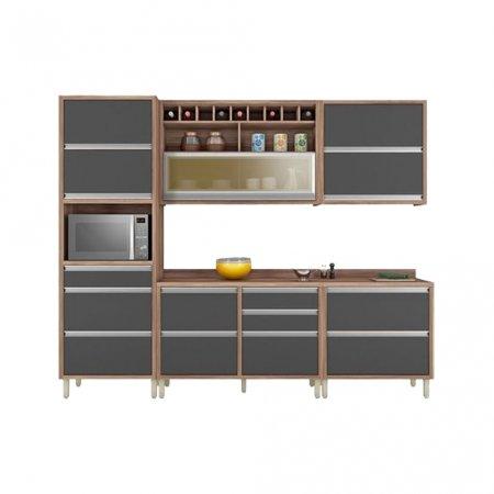 Cozinha Completa Ana 5 Peças 270 cm Nogal com Grafite 10533040