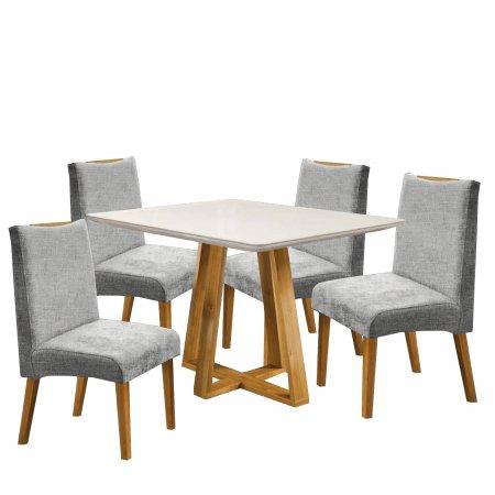 Mesa Imperial 120 cm Cinamomo com Off White e 4 Cadeiras Linho Cinza com Mel 10224070