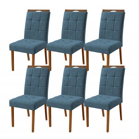 Conjunto 6 Cadeiras Turquesa Estofadas Tecido Linho azul 10568189