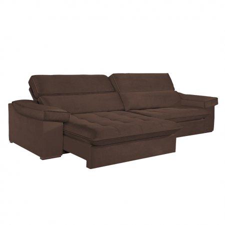 Sofá VIP Rubi Retrátil e Reclinável 296 cm com Molas Ensacadas Tecido 116 Marrom
