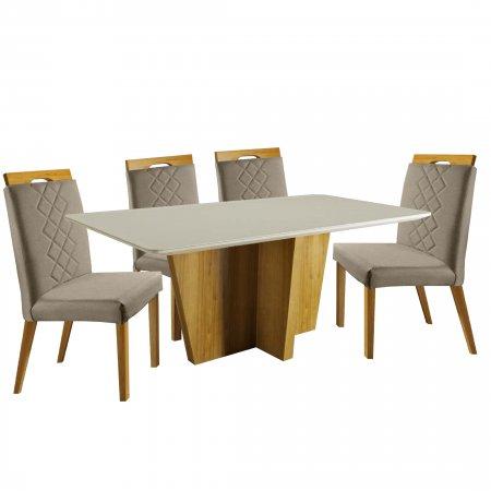 Mesa Imperial Xis 180 cm Cinamomo com Off White e 6 Cadeiras Linho Bege com Mel 10224072