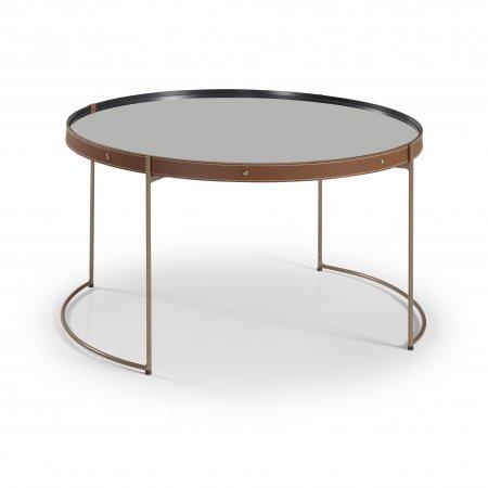 Mesa de Centro 75 cm Couro Caramelo Metal Cobre 10579096