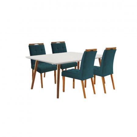 Mesa Ello Decor Topázio Mel com Off White 120x90 cm com 4 Cadeiras Tecido 16B Linho Azul com Mel 10568117