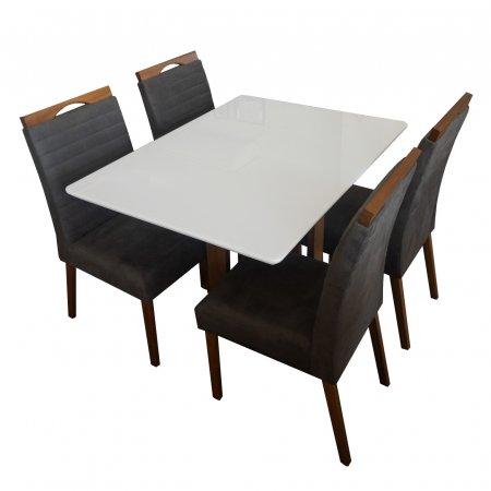 Mesa de Jantar Eld Mel com Off White 120x90 cm e 4 Cadeiras A080 Tecido 65C Marrom Escuro com Mel 10568031