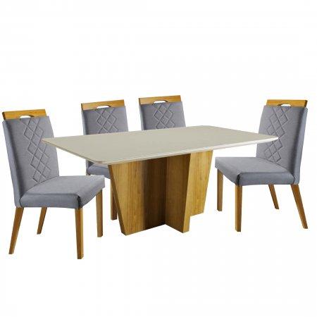 Mesa Imperial Xis 180 cm Cinamomo com Off White e 6 Cadeiras Linho Cinza com Mel 10224071