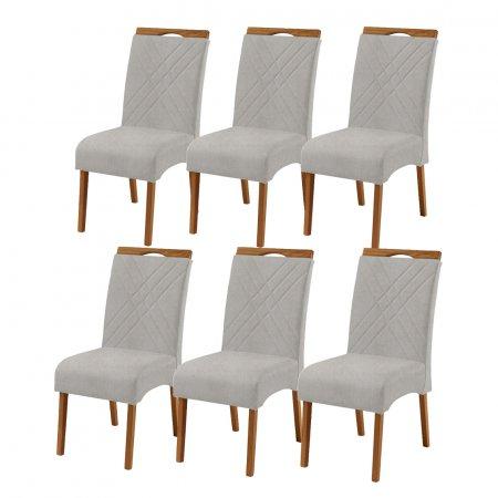 Conjunto 6 Cadeiras Jade Estofadas Tecido Linho Cinza Claro 10568187
