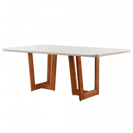 Mesa de Jantar Talia 180x90 cm Imbuia Naturale com Off White 10427218