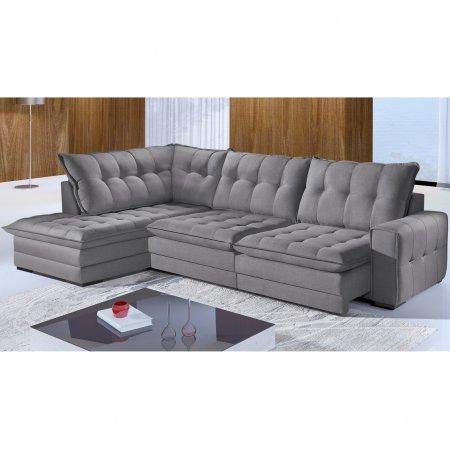 Sofá de Canto Cristal Retrátil 220x320 cm Tecido Veludo Cinza 10307018