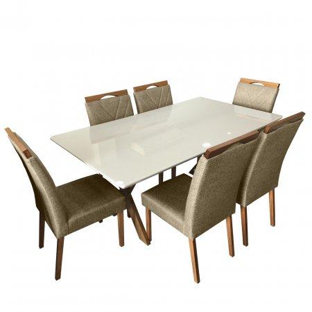 Mesa de Jantar Eld Mel com Off White 180x100 cm e 6 Cadeiras Linho Bege com Mel 10568024