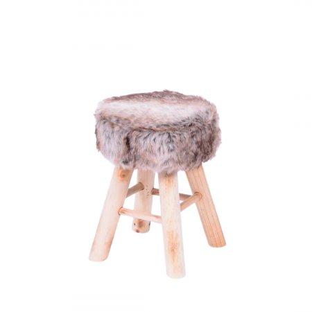 Banqueta Puff de Pelo sintético Mescla com base de Madeira 10580001
