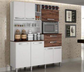 Kit de Cozinha 160 cm Valdemóveis Monte Rey Branco com Castanho 10561019