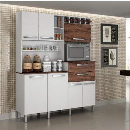 Kit de Cozinha Monte Rey 160 cm Branco com Castanho 10561019