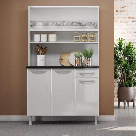 Armário Kit de Cozinha Aço Topazio Glass 105 cm Branco 10213027
