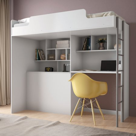 Cama de Solteiro Alta com Módulo Office Branca 10043282