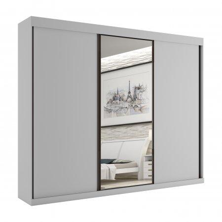 Guarda Roupa com 3 Portas de Correr e 1 Espelho 240 cm Branco 10589068