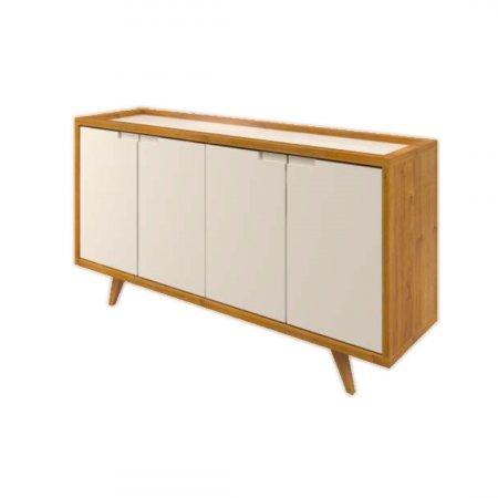 Balcão Buffet Veneza 180 cm com Tampo de Vidro Mel Cinamomo com Off White 10224062