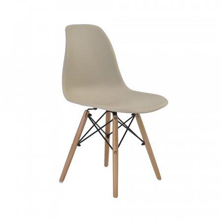 Cadeira Rivatti Eiffel Nude com Base de Madeira 10394136