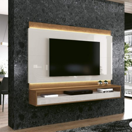 Painel Suspenso para TV 163 cm Naturale com Off White 10180224