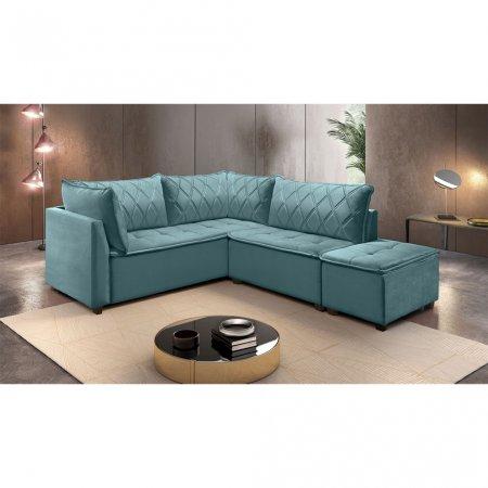 Sofá de Canto Plat 240x212 cm MP1908 Veludo Azul Turquesa 10565788