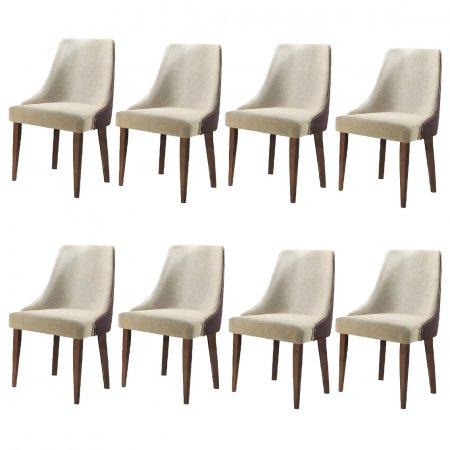 Conjunto 8 Cadeiras Esmeralda Estofadas Tecido Linho com Courino 10427220