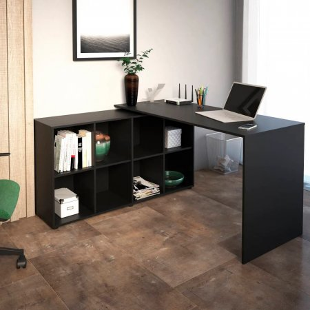 Mesa para Computador Escrivaninha de Canto 140x130 cm Preta 10583002