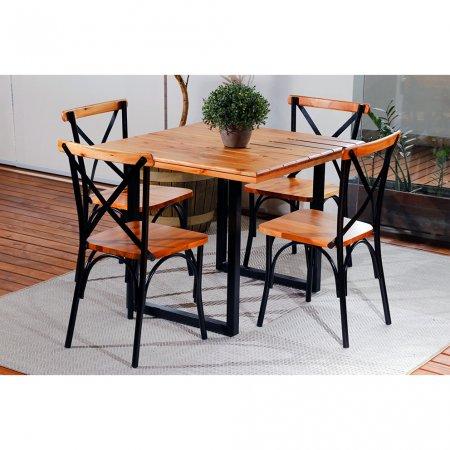 Mesa para Cozinha 90x90 cm e 4 Cadeiras Natural com Ferro Preto 10378059