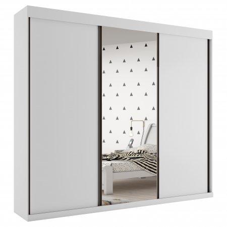 Guarda Roupa com 3 Portas de Correr e 1 Espelho 270 cm Branco 10589078