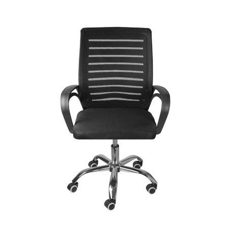 Cadeira de Escritório Baixa Preta com Tela e Base Cromada 10580046