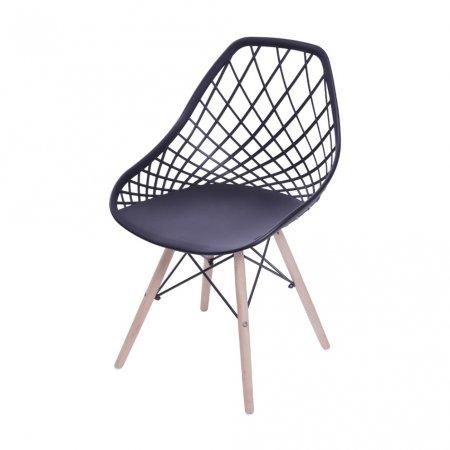 Cadeira Colmeia Preta com Base Eiffel de Madeira 10580041