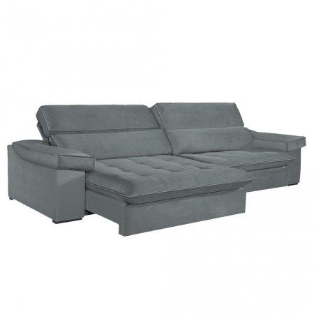 Sofá VIP Rubi Retrátil e Reclinável 296 cm com Molas Ensacadas Tecido 117 Cinza
