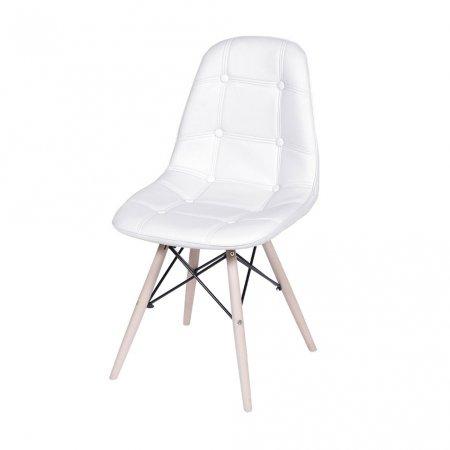 Cadeira Botone Branco com Base Madeira 10580043