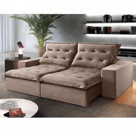 Sofá Retrátil 200 cm com encosto Reclinável Tecido Bege 25003001