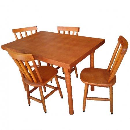 Mesa de Cozinha Torneada 120x80 cm e 6 cadeiras Cor Mel 10610011-014