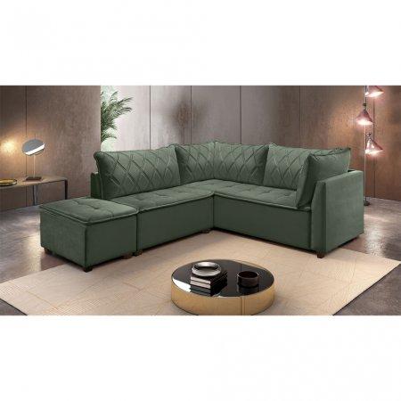Sofá de Canto Plat 240x212 cm MP1908 Veludo Verde 10565786