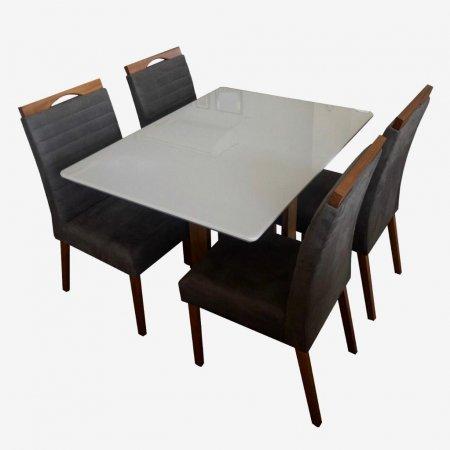 Mesa Ello Decor Acácia Mel com Off White 120x90 cm com 4 Cadeiras A080 Tecido 65C Marrom Escuro com Mel 10568031